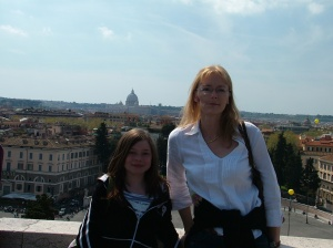 On a trip to Italy with her aunty Andrea (my sis) in 2006